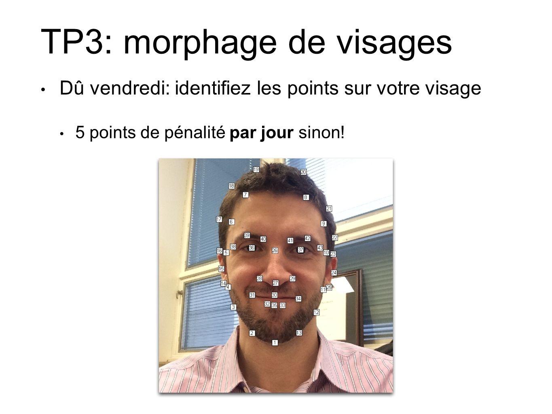 TP3: morphage de visages Dû vendredi: identifiez les points sur votre visage 5 points de pénalité par jour sinon!