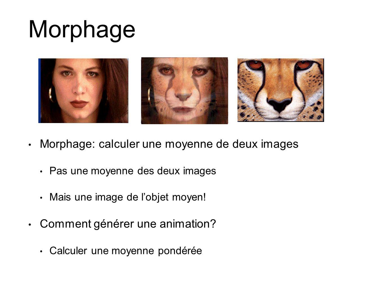 Morphage Morphage: calculer une moyenne de deux images Pas une moyenne des deux images Mais une image de lobjet moyen! Comment générer une animation?
