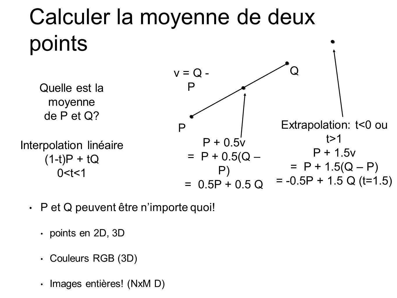 P Q v = Q - P Calculer la moyenne de deux points P + 0.5v = P + 0.5(Q – P) = 0.5P + 0.5 Q Extrapolation: t 1 P + 1.5v = P + 1.5(Q – P) = -0.5P + 1.5 Q