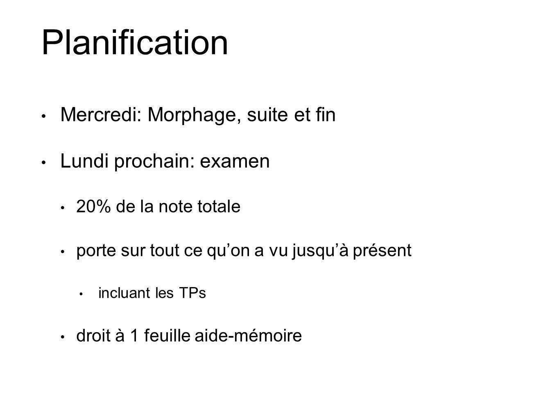 Planification Mercredi: Morphage, suite et fin Lundi prochain: examen 20% de la note totale porte sur tout ce quon a vu jusquà présent incluant les TP