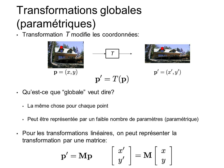 Transformations globales (paramétriques) Transformation T modifie les coordonnées: Quest-ce que globale veut dire? La même chose pour chaque point Peu