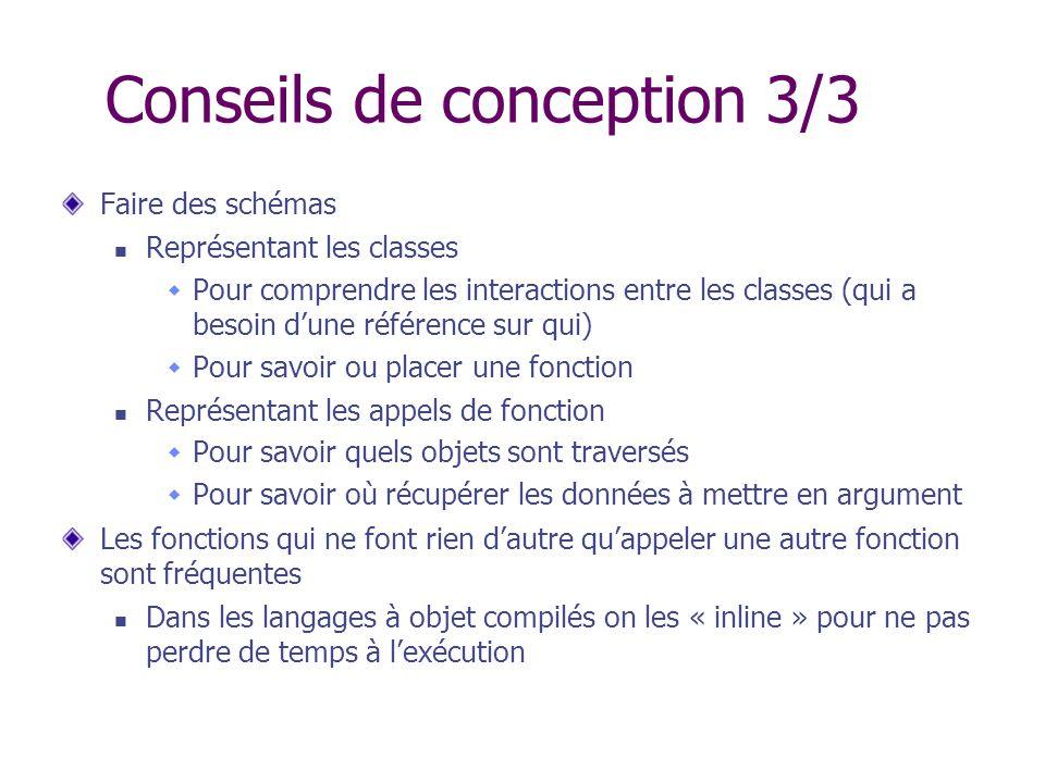 Conseils de conception 3/3 Faire des schémas Représentant les classes Pour comprendre les interactions entre les classes (qui a besoin dune référence