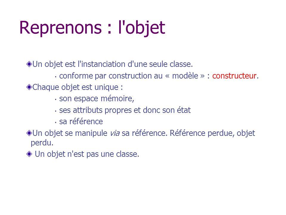 Reprenons : l'objet Un objet est l'instanciation d'une seule classe. conforme par construction au « modèle » : constructeur. Chaque objet est unique :