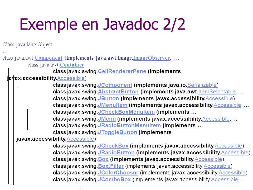 Exemple en Javadoc 2/2 Class java.lang.Object … class java.awt.Component (implements java.awt.image.ImageObserver, …ComponentImageObserver class java.