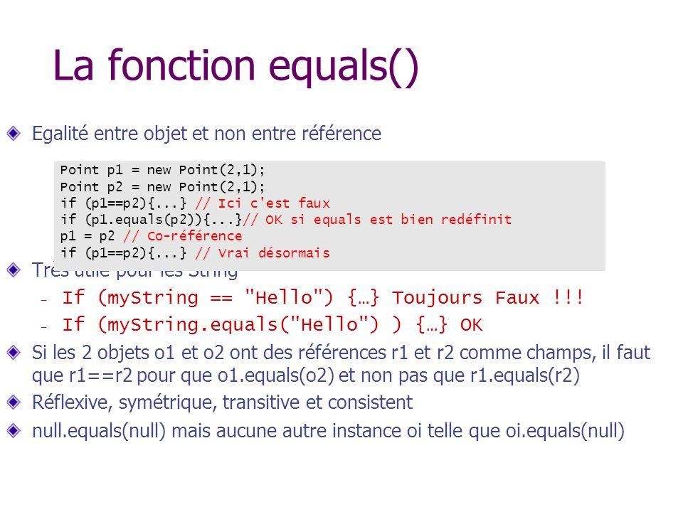 La fonction equals() Egalité entre objet et non entre référence Très utile pour les String – If (myString ==