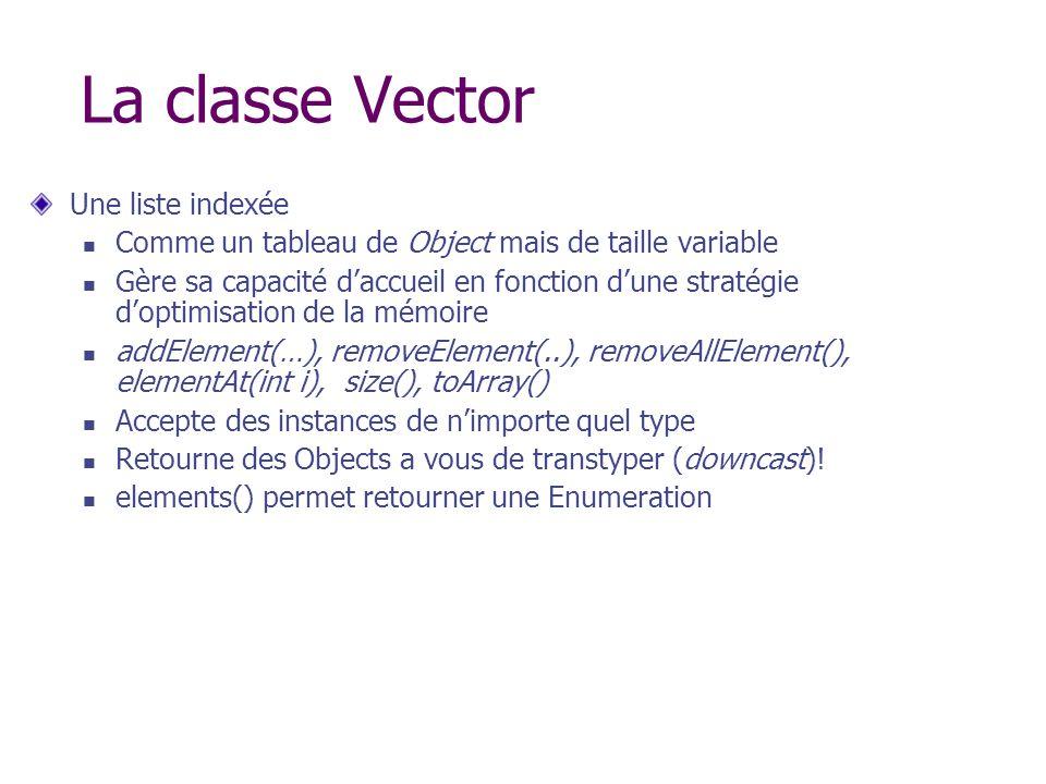 La classe Vector Une liste indexée Comme un tableau de Object mais de taille variable Gère sa capacité daccueil en fonction dune stratégie doptimisati