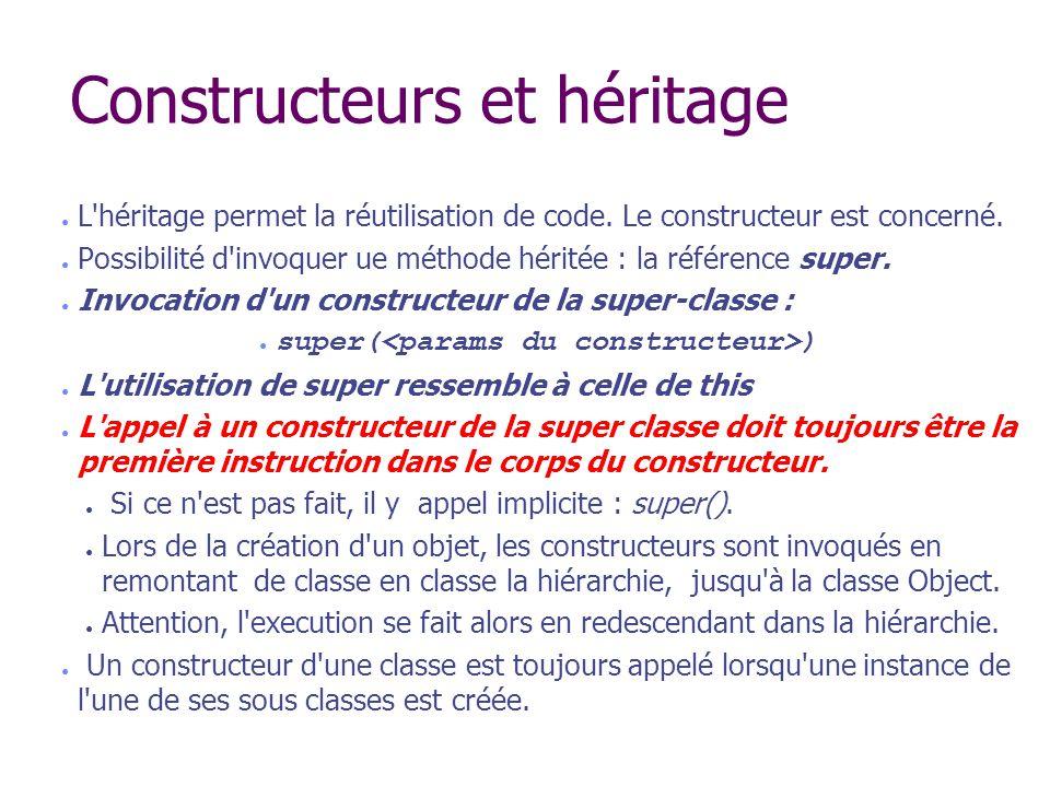 Constructeurs et héritage L'héritage permet la réutilisation de code. Le constructeur est concerné. Possibilité d'invoquer ue méthode héritée : la réf