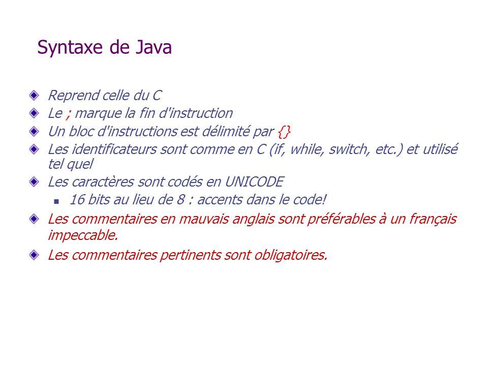 Syntaxe de Java Reprend celle du C Le ; marque la fin d'instruction Un bloc d'instructions est délimité par {} Les identificateurs sont comme en C (if