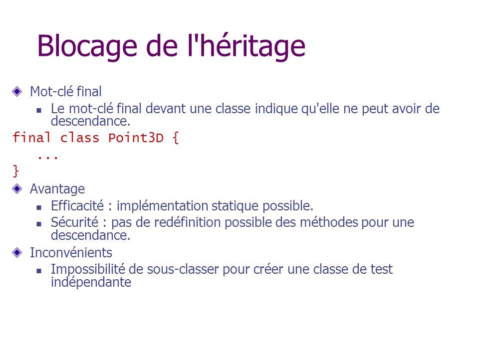 Blocage de l'héritage Mot-clé final Le mot-clé final devant une classe indique qu'elle ne peut avoir de descendance. final class Point3D {... } Avanta