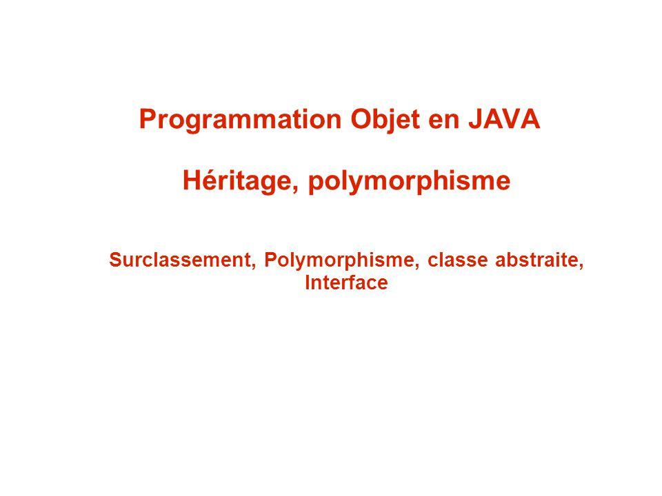Programmation Objet en JAVA Héritage, polymorphisme Surclassement, Polymorphisme, classe abstraite, Interface