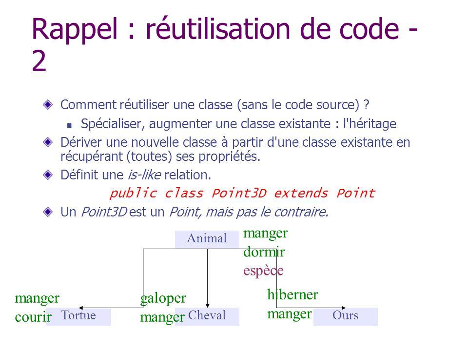 Rappel : réutilisation de code - 2 Comment réutiliser une classe (sans le code source) ? Spécialiser, augmenter une classe existante : l'héritage Déri