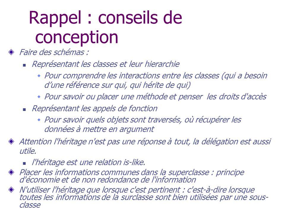 Rappel : conseils de conception Faire des schémas : Représentant les classes et leur hierarchie Pour comprendre les interactions entre les classes (qu