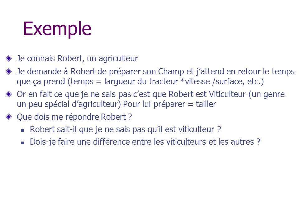Exemple Je connais Robert, un agriculteur Je demande à Robert de préparer son Champ et jattend en retour le temps que ça prend (temps = largueur du tr