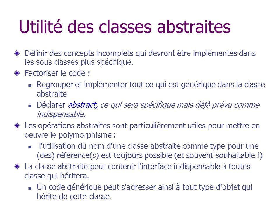 Utilité des classes abstraites Définir des concepts incomplets qui devront être implémentés dans les sous classes plus spécifique. Factoriser le code
