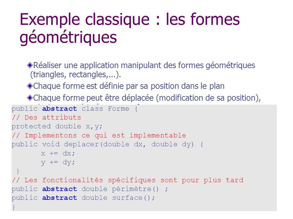Exemple classique : les formes géométriques Réaliser une application manipulant des formes géométriques (triangles, rectangles,...). Chaque forme est