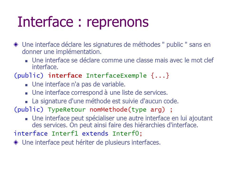 Interface : reprenons Une interface déclare les signatures de méthodes