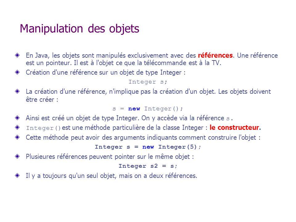 Manipulation des objets En Java, les objets sont manipulés exclusivement avec des références. Une référence est un pointeur. Il est à l'objet ce que l