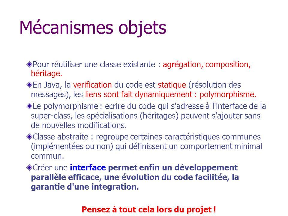 Mécanismes objets Pour réutiliser une classe existante : agrégation, composition, héritage. En Java, la verification du code est statique (résolution