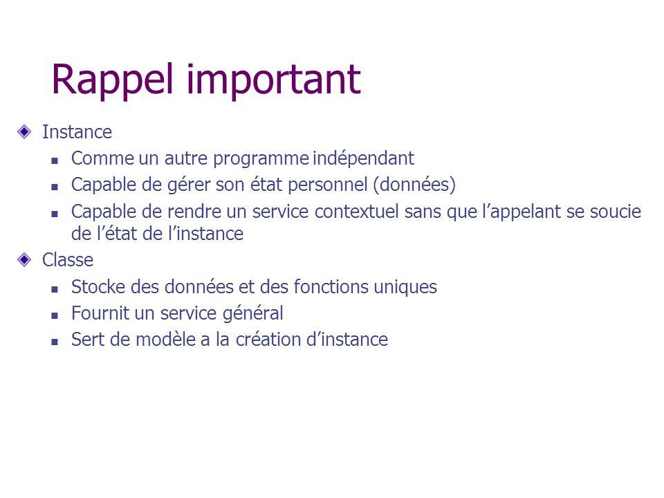 Rappel important Instance Comme un autre programme indépendant Capable de gérer son état personnel (données) Capable de rendre un service contextuel s