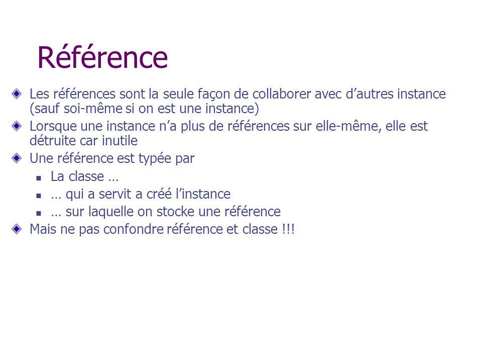 Référence Les références sont la seule façon de collaborer avec dautres instance (sauf soi-même si on est une instance) Lorsque une instance na plus d