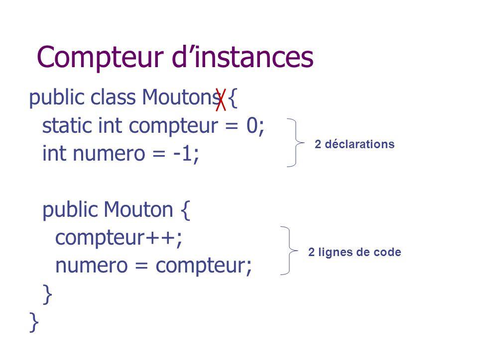 Compteur dinstances public class Moutons { static int compteur = 0; int numero = -1; public Mouton { compteur++; numero = compteur; } 2 déclarations 2