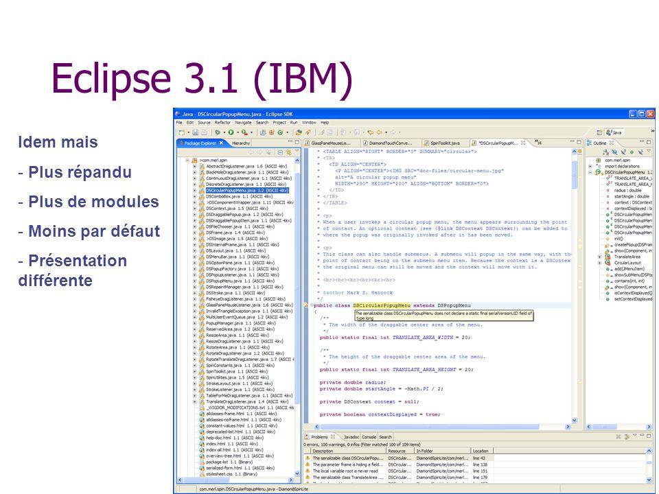 Eclipse 3.1 (IBM) Idem mais - Plus répandu - Plus de modules - Moins par défaut - Présentation différente