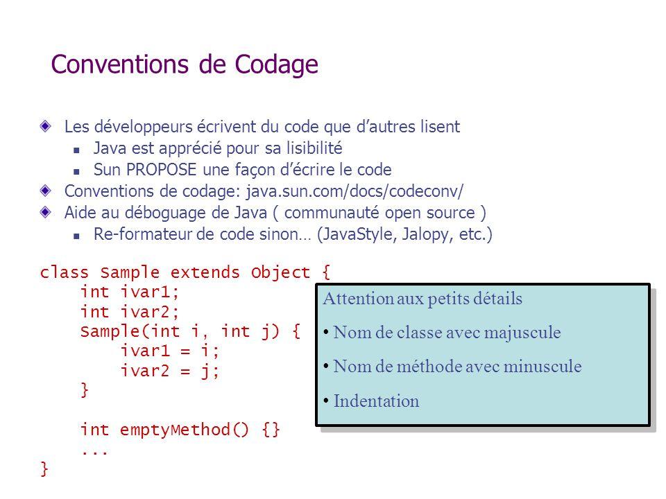 Conventions de Codage Les développeurs écrivent du code que dautres lisent Java est apprécié pour sa lisibilité Sun PROPOSE une façon décrire le code