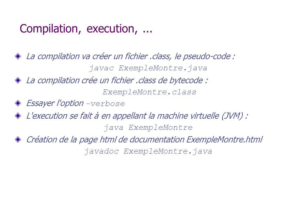 Compilation, execution,... La compilation va créer un fichier.class, le pseudo-code : javac ExempleMontre.java La compilation crée un fichier.class de