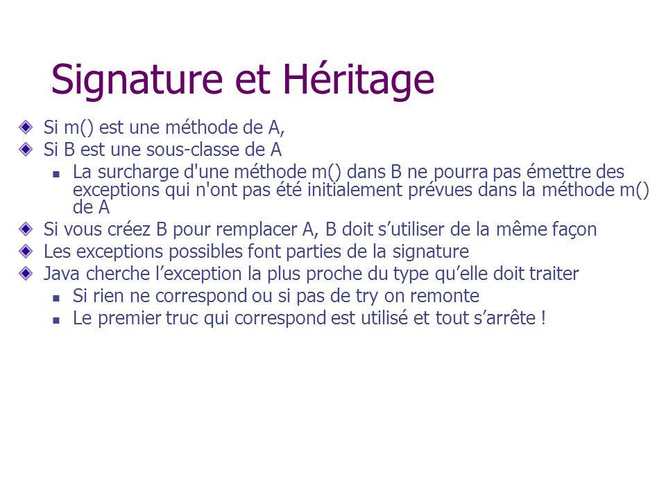 Signature et Héritage Si m() est une méthode de A, Si B est une sous-classe de A La surcharge d'une méthode m() dans B ne pourra pas émettre des excep