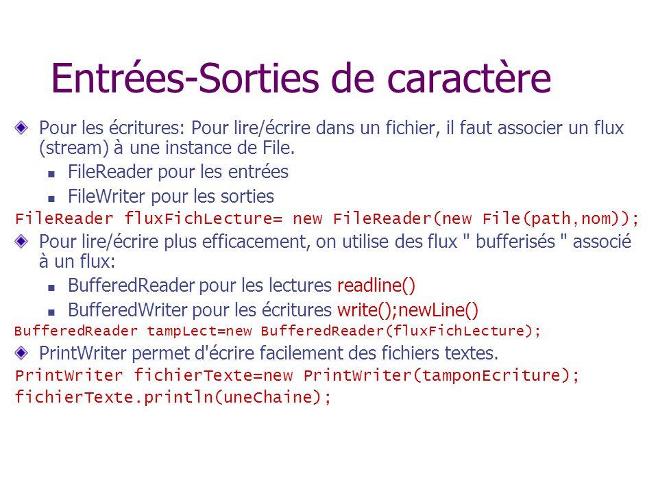 Entrées-Sorties de caractère Pour les écritures: Pour lire/écrire dans un fichier, il faut associer un flux (stream) à une instance de File. FileReade