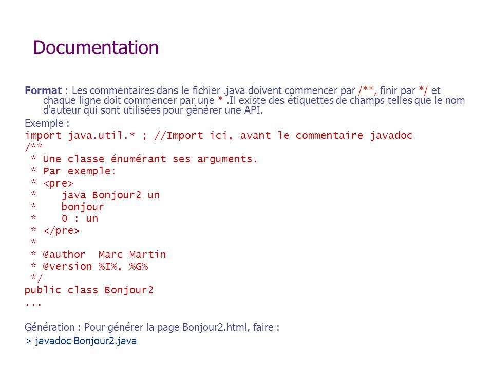 Documentation Format : Les commentaires dans le fichier.java doivent commencer par /**, finir par */ et chaque ligne doit commencer par une *.Il exist