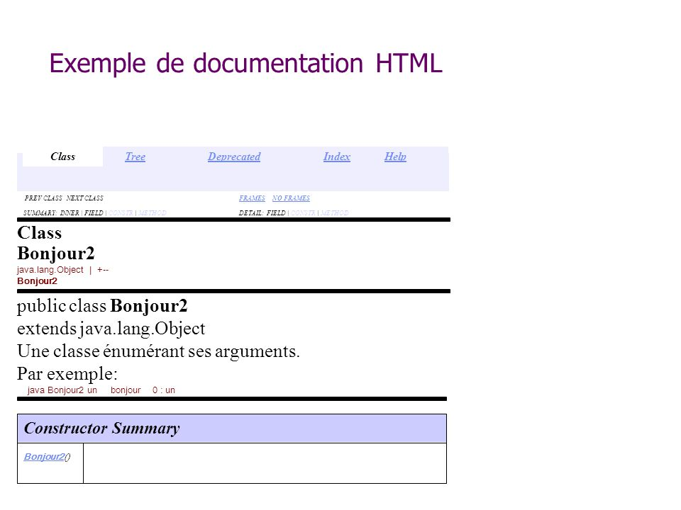 Exemple de documentation HTML DETAIL: FIELD | CONSTR | METHODSUMMARY: INNER | FIELD | CONSTR | METHOD FRAMESFRAMES NO FRAMESNO FRAMES PREV CLASS NEXT CLASS Class Bonjour2 java.lang.Object | +-- Bonjour2 public class Bonjour2 extends java.lang.Object Une classe énumérant ses arguments.