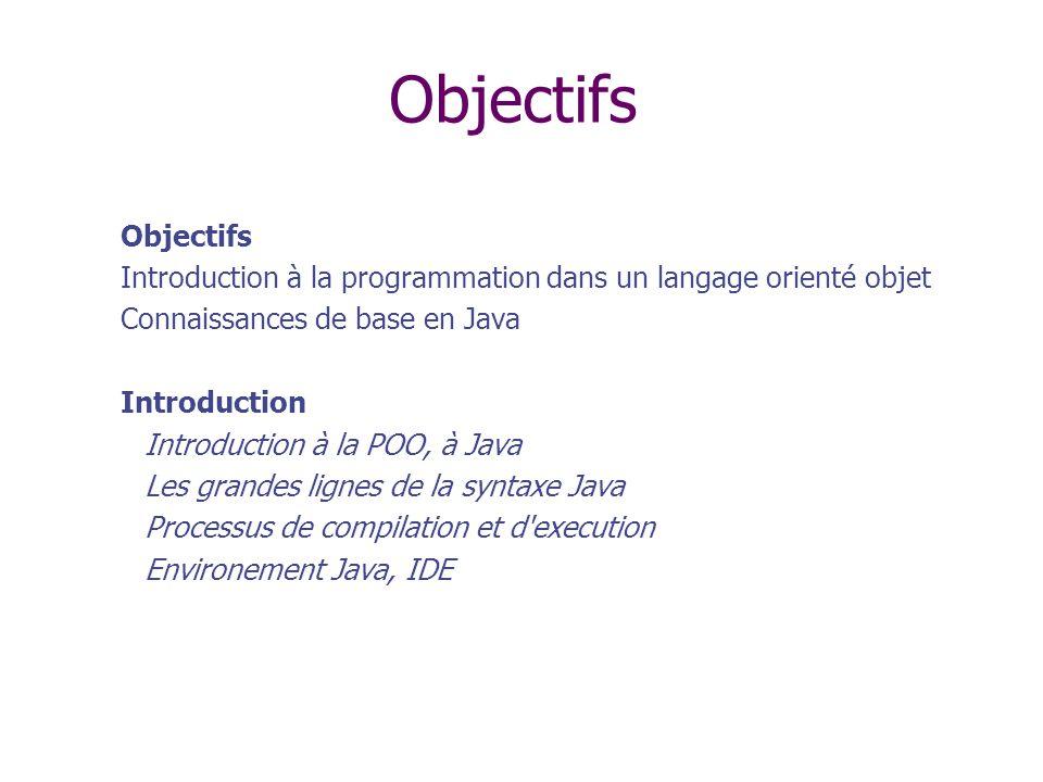 Syntaxe de Java Reprend celle du C Le ; marque la fin d instruction Un bloc d instructions est délimité par {} Les identificateurs sont comme en C (if, while, switch, etc.) et utilisé tel quel Les caractères sont codés en UNICODE 16 bits au lieu de 8 : accents dans le code.