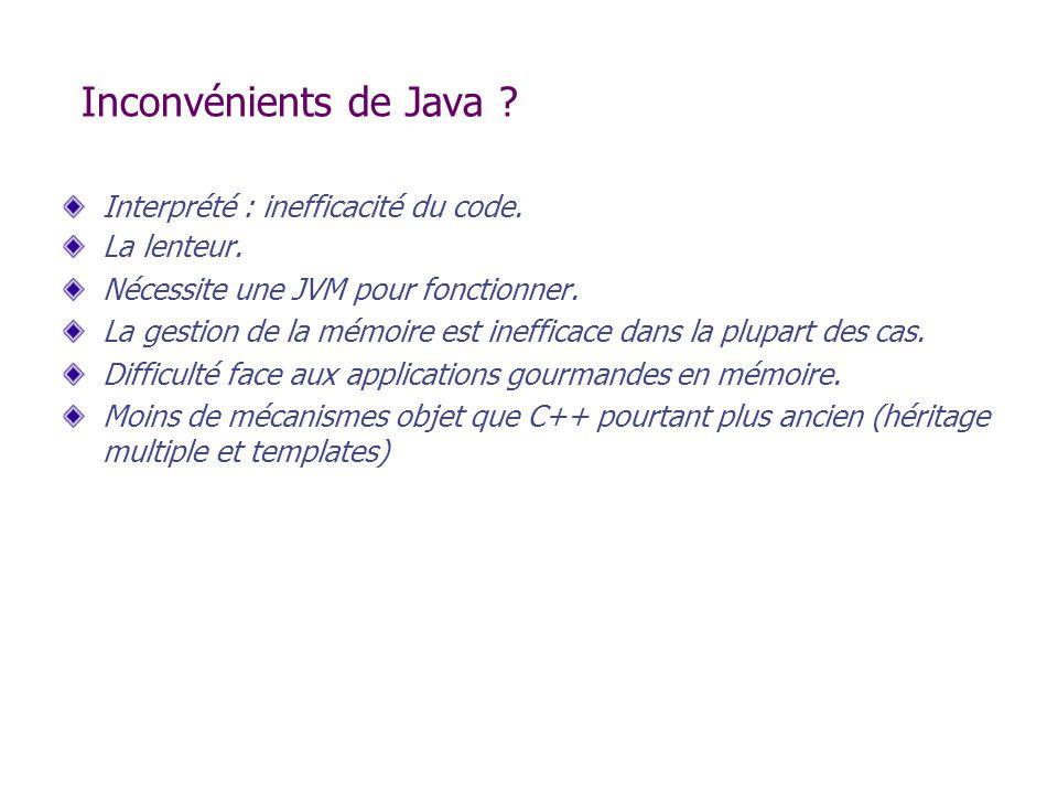 Inconvénients de Java ? Interprété : inefficacité du code. La lenteur. Nécessite une JVM pour fonctionner. La gestion de la mémoire est inefficace dan