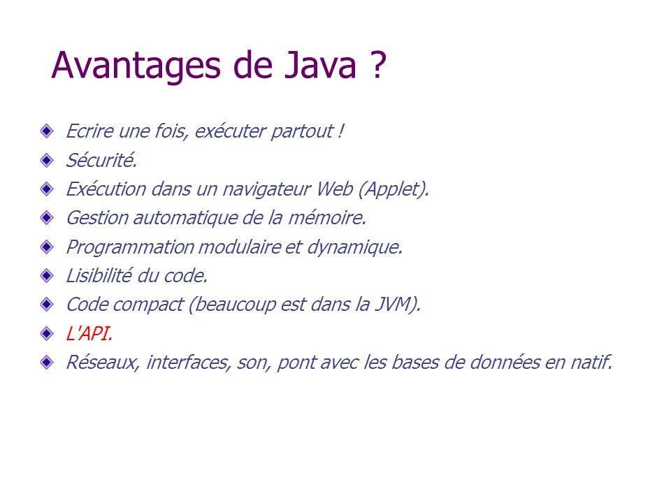 Avantages de Java ? Ecrire une fois, exécuter partout ! Sécurité. Exécution dans un navigateur Web (Applet). Gestion automatique de la mémoire. Progra