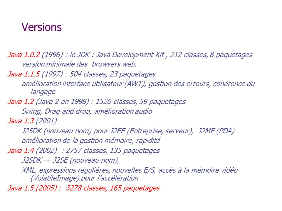 Versions Java 1.0.2 (1996) : le JDK : Java Development Kit, 212 classes, 8 paquetages version minimale des browsers web.