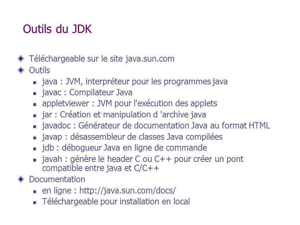 Outils du JDK Téléchargeable sur le site java.sun.com Outils java : JVM, interpréteur pour les programmes java javac : Compilateur Java appletviewer :