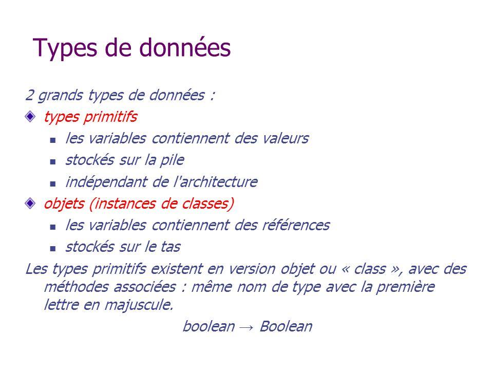 Types de données 2 grands types de données : types primitifs les variables contiennent des valeurs stockés sur la pile indépendant de l'architecture o
