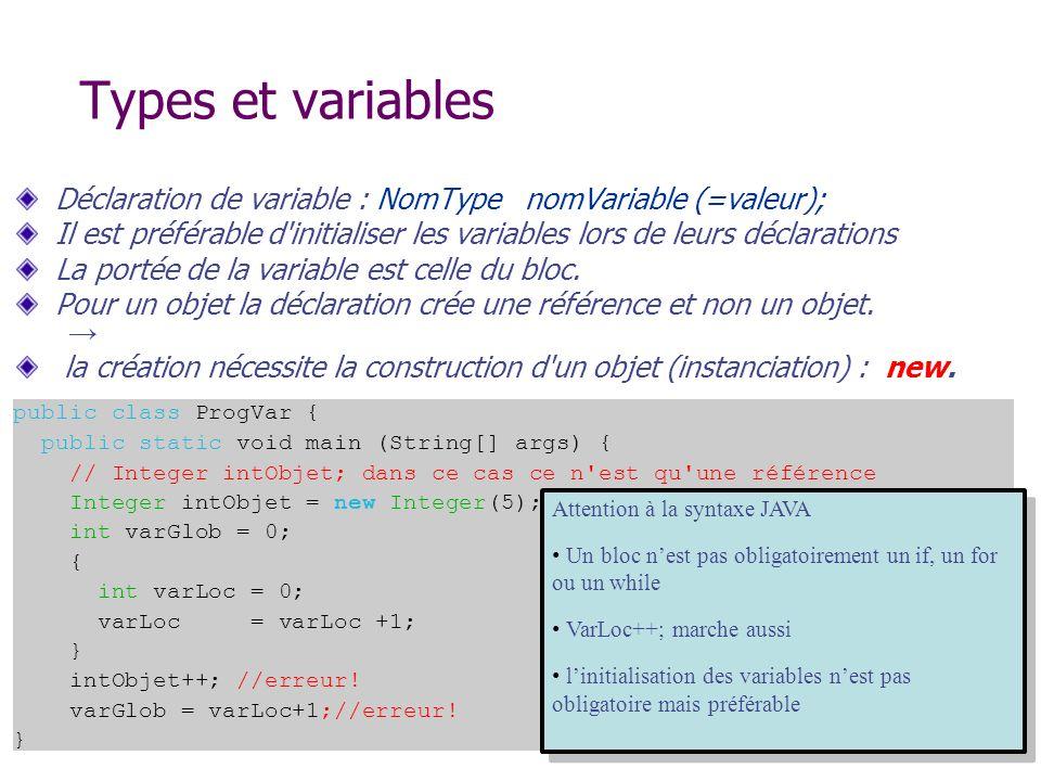 Types et variables Déclaration de variable : NomType nomVariable (=valeur); Il est préférable d'initialiser les variables lors de leurs déclarations L