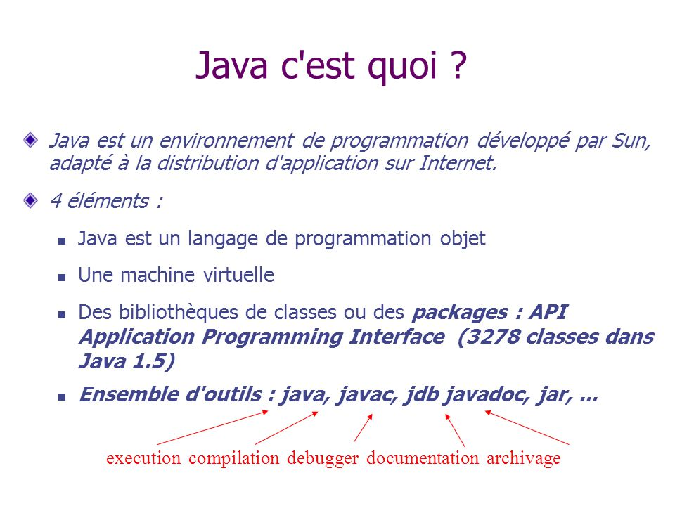 Exemple en Javadoc 2/2 Class java.lang.Object … class java.awt.Component (implements java.awt.image.ImageObserver, …ComponentImageObserver class java.awt.ContainerContainer class javax.swing.CellRendererPane (implements javax.accessibility.Accessible)CellRendererPaneAccessible class javax.swing.JComponent (implements java.io.Serializable)JComponentSerializable class javax.swing.AbstractButton (implements java.awt.ItemSelectable, …AbstractButtonItemSelectable class javax.swing.JButton (implements javax.accessibility.Accessible)JButtonAccessible class javax.swing.JMenuItem (implements javax.accessibility.Accessible, …JMenuItemAccessible class javax.swing.JCheckBoxMenuItem (implements …JCheckBoxMenuItem class javax.swing.JMenu (implements javax.accessibility.Accessible, …JMenuAccessible class javax.swing.JRadioButtonMenuItem (implements …JRadioButtonMenuItem class javax.swing.JToggleButton (implements javax.accessibility.Accessible)JToggleButtonAccessible class javax.swing.JCheckBox (implements javax.accessibility.Accessible)JCheckBoxAccessible class javax.swing.JRadioButton (implements javax.accessibility.Accessible)JRadioButtonAccessible class javax.swing.Box (implements javax.accessibility.Accessible)BoxAccessible class javax.swing.Box.Filler (implements javax.accessibility.Accessible)Box.FillerAccessible class javax.swing.JColorChooser (implements javax.accessibility.Accessible)JColorChooserAccessible class javax.swing.JComboBox (implements javax.accessibility.Accessible, …JComboBoxAccessible …