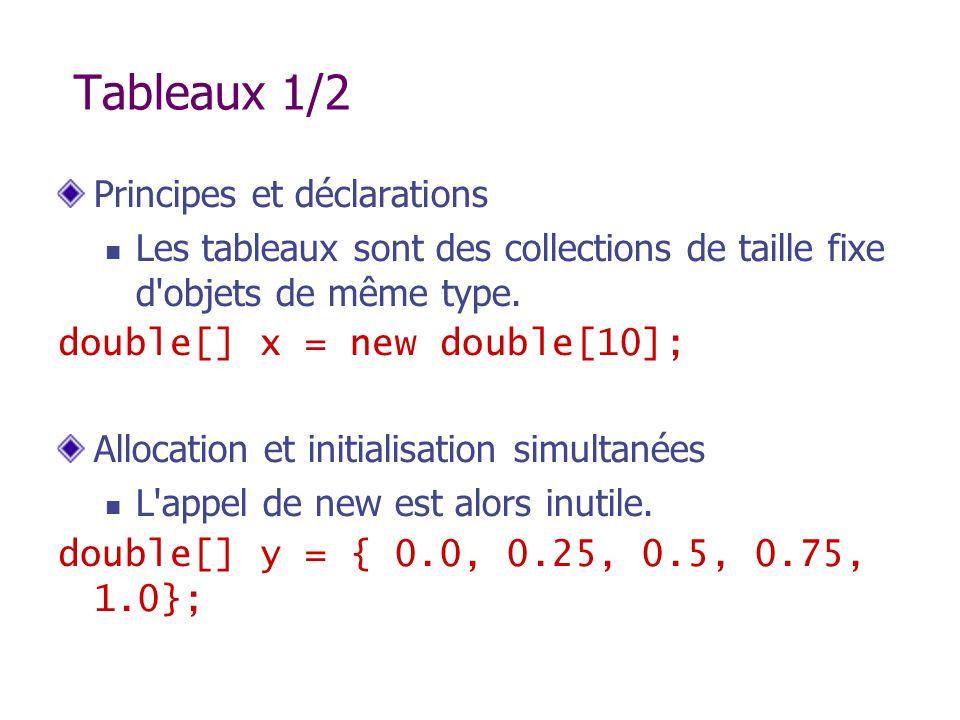 Tableaux 1/2 Principes et déclarations Les tableaux sont des collections de taille fixe d'objets de même type. double[] x = new double[10]; Allocation