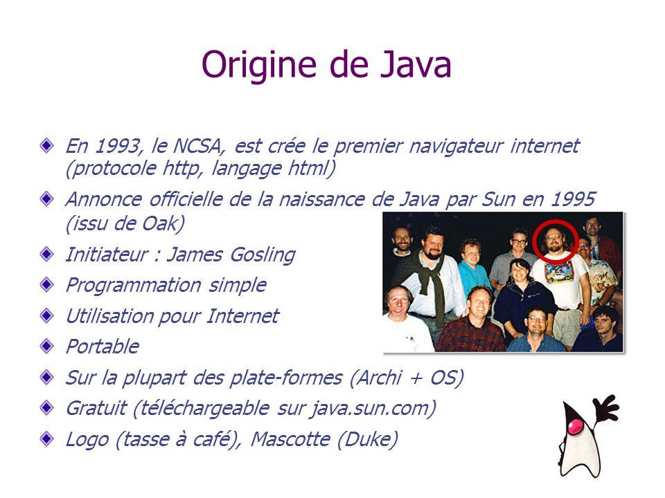 Origine de Java En 1993, le NCSA, est crée le premier navigateur internet (protocole http, langage html) Annonce officielle de la naissance de Java pa