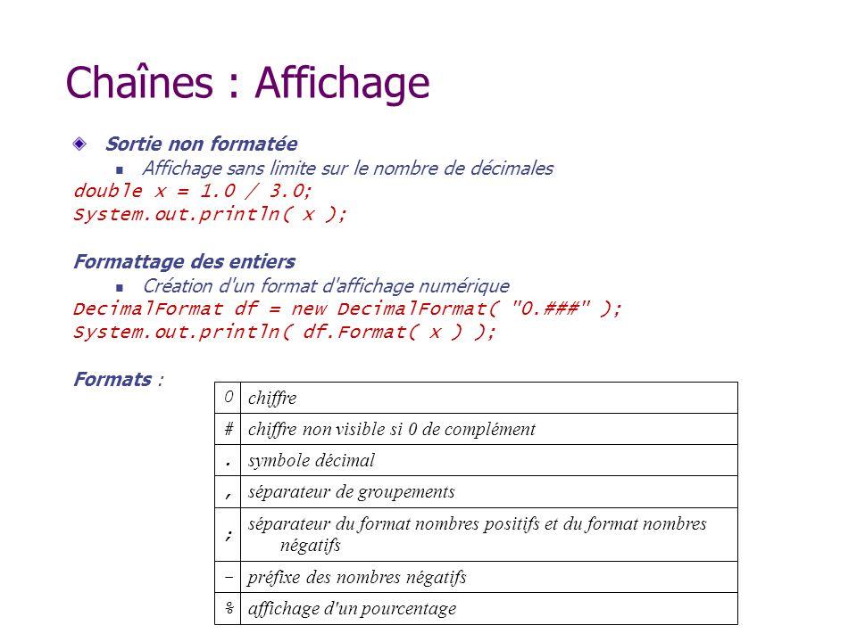 Chaînes : Affichage Sortie non formatée Affichage sans limite sur le nombre de décimales double x = 1.0 / 3.0; System.out.println( x ); Formattage des