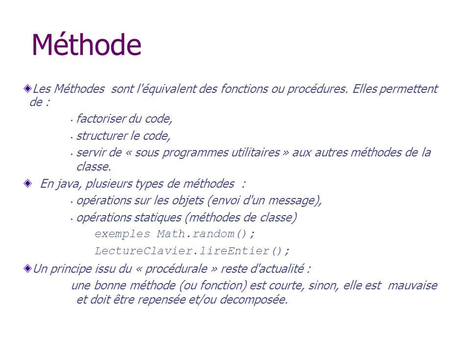 Méthode Les Méthodes sont l'équivalent des fonctions ou procédures. Elles permettent de : factoriser du code, structurer le code, servir de « sous pro