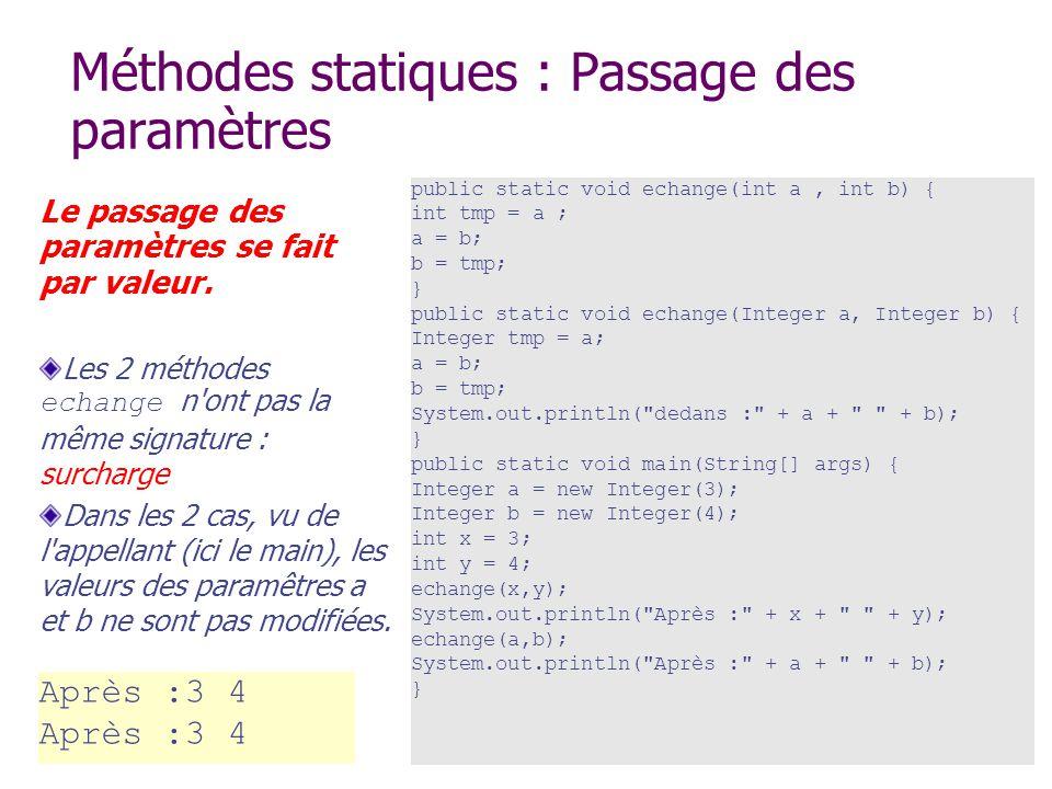 Méthodes statiques : Passage des paramètres Le passage des paramètres se fait par valeur. Les 2 méthodes echange n'ont pas la même signature : surchar