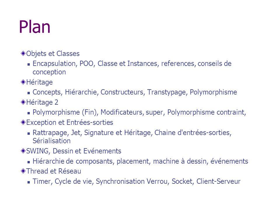 Plan Objets et Classes Encapsulation, POO, Classe et Instances, references, conseils de conception Héritage Concepts, Hiérarchie, Constructeurs, Trans
