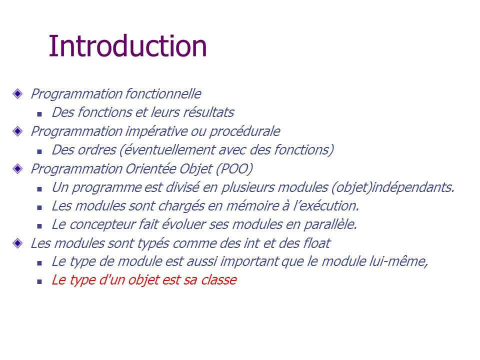 Introduction Programmation fonctionnelle Des fonctions et leurs résultats Programmation impérative ou procédurale Des ordres (éventuellement avec des