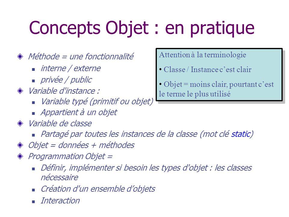 Concepts Objet : en pratique Méthode = une fonctionnalité interne / externe privée / public Variable d'instance : Variable typé (primitif ou objet) Ap