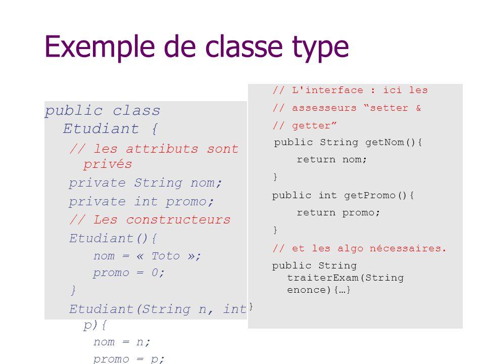 Exemple de classe type public class Etudiant { // les attributs sont privés private String nom; private int promo; // Les constructeurs Etudiant(){ no