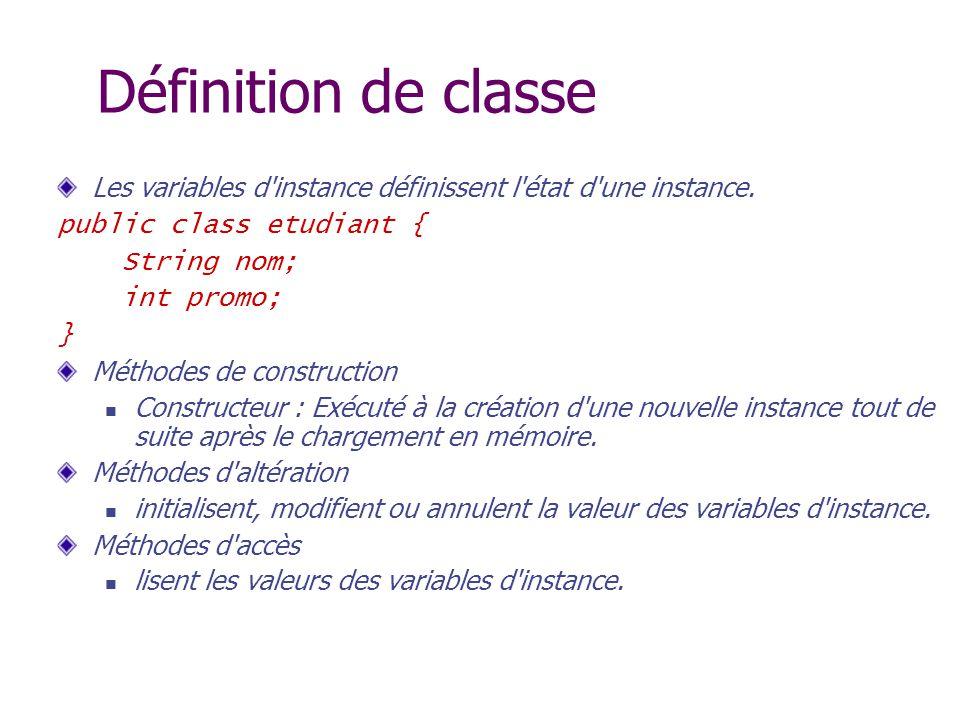 Définition de classe Les variables d'instance définissent l'état d'une instance. public class etudiant { String nom; int promo; } Méthodes de construc